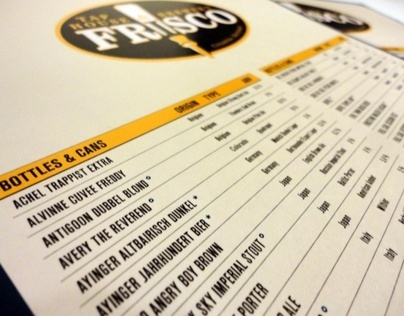 Frisco Taphouse Beer Menu
