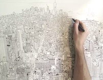 empire state of pen time lapse drawing of Manhattan