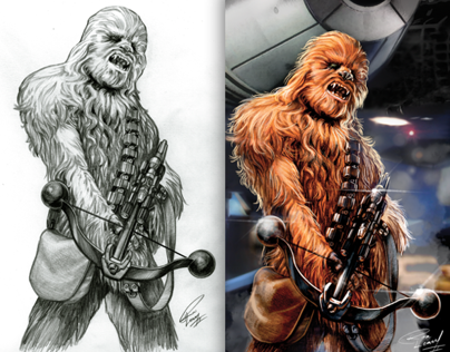 Star Wars sketches and colored pieces