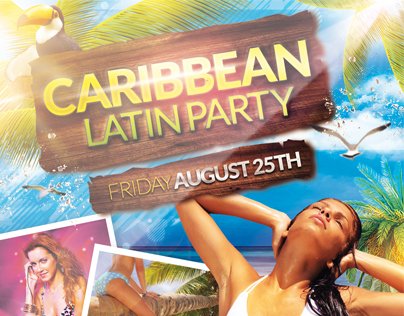 Caribbean Latin Party Flyer + Facebook Cover