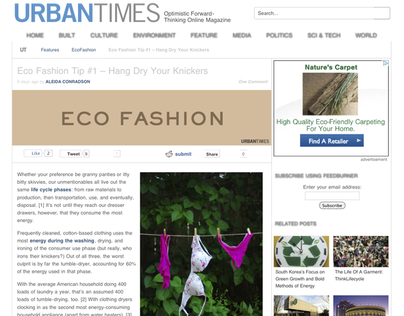 Eco-Fashion Column for the Urban Times