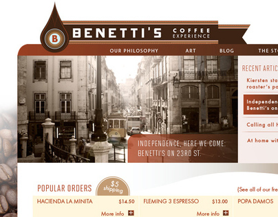 Benettis Coffee Experience Website Refresh