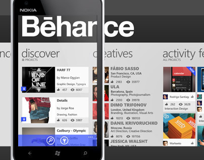Behance Windows Phone Concept App