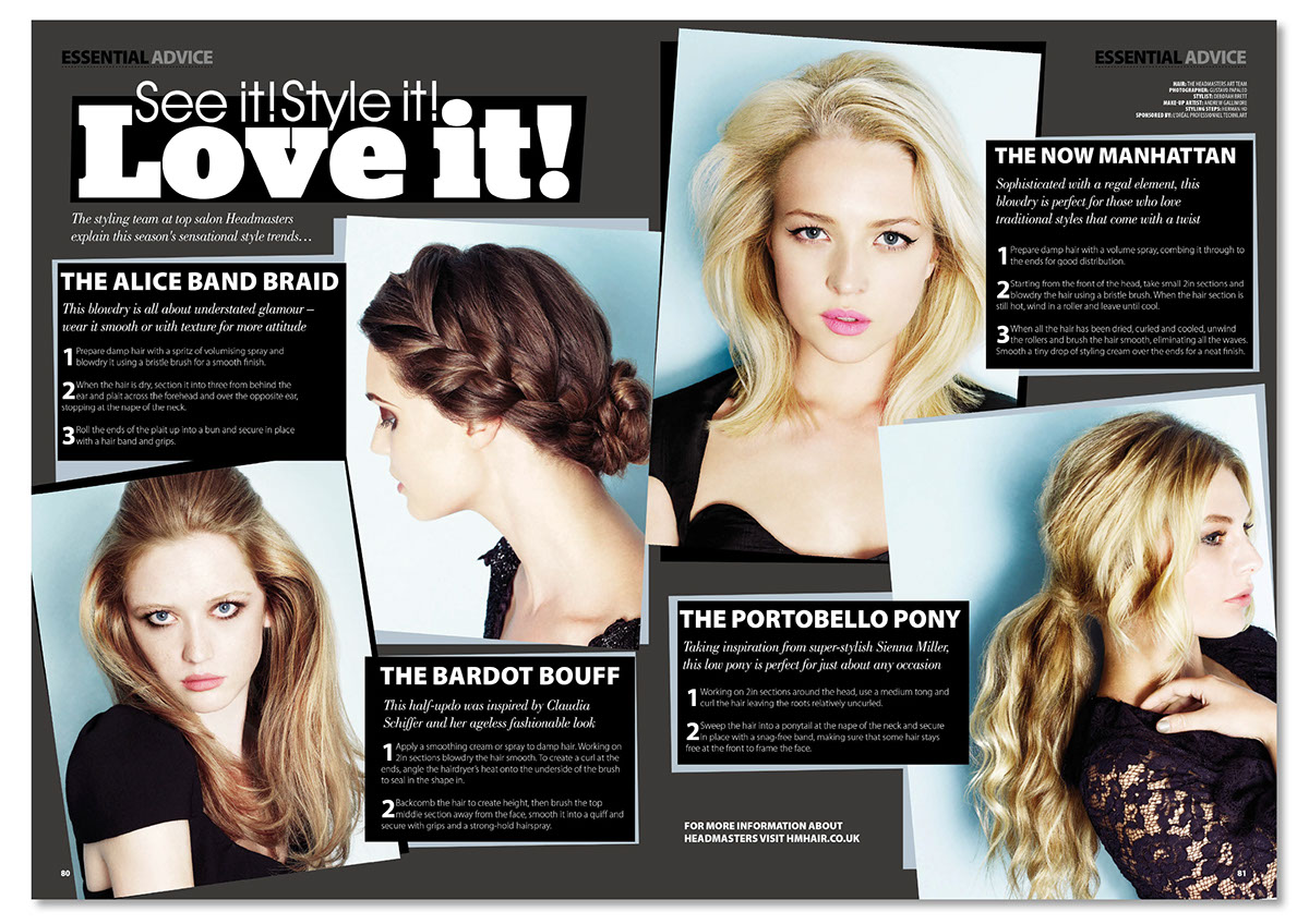 Design: Your Hair Magazine Page Layouts