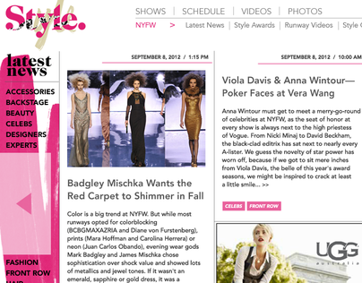 NY Fashion Week Section - Style Network Website
