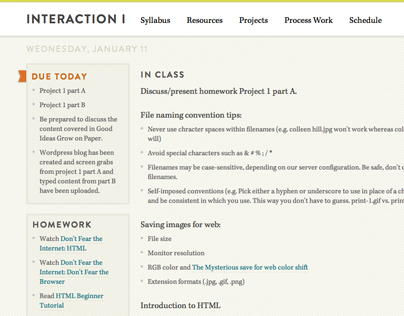 Interaction I teaching site
