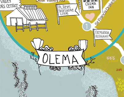 Illustrated Wedding Map, Olema, Pt. Reyes