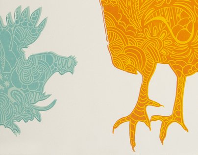 Windy Chickens Relief Print