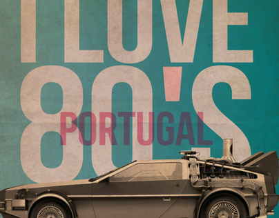 Design Poster of 80s party @ Clube Ferroviário