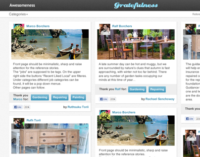 Website design for Gratefulness stories