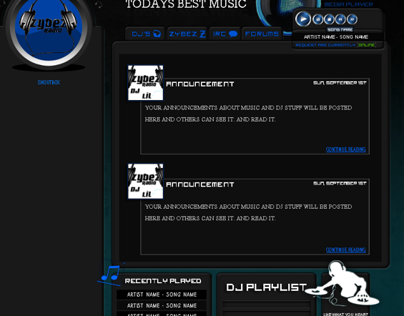 Radio Website layout for Zybez Radio