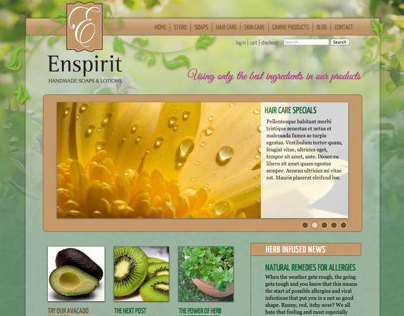 Enspirit Handmade Soaps & Lotions Custom WP Theme