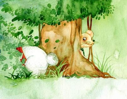 """Xom co bui"" - illus  watercolor for children book"