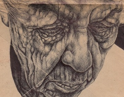 Bic Biro drawing on 1915 envelope.