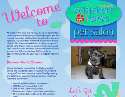 One-Page Website for Kristins Whiskers & Paws, LLC