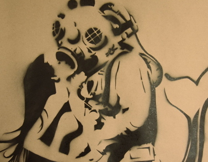 Mermaid and Deep Sea Diver Stencil