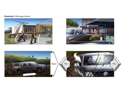 Volkswagen Amorok Storyboard art for TVC