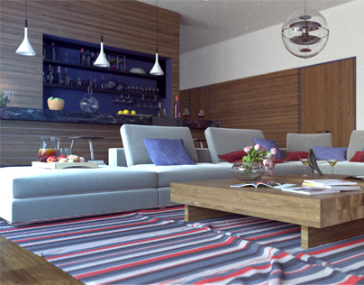 Living Room Interior 60s