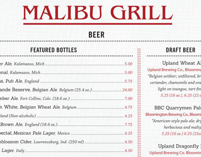 Malibu Bar and Grill Menu Redesign