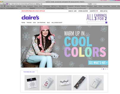 Claires Home Page Features
