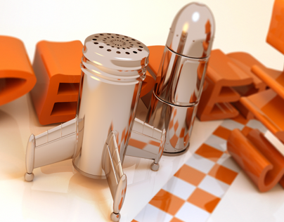 Retro Rocket: Salt & Pepper Shakers in Blender 3D