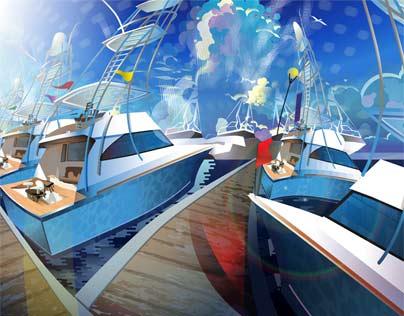Sport Fishing Boats At A Marina