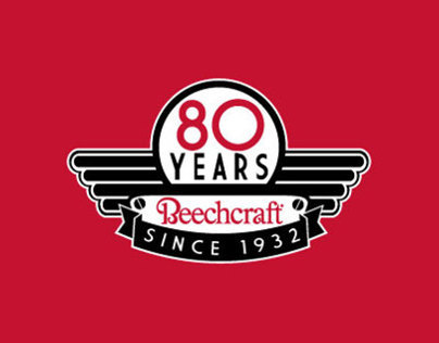 Hawker Beechcraft 80 years Anniversary Logo