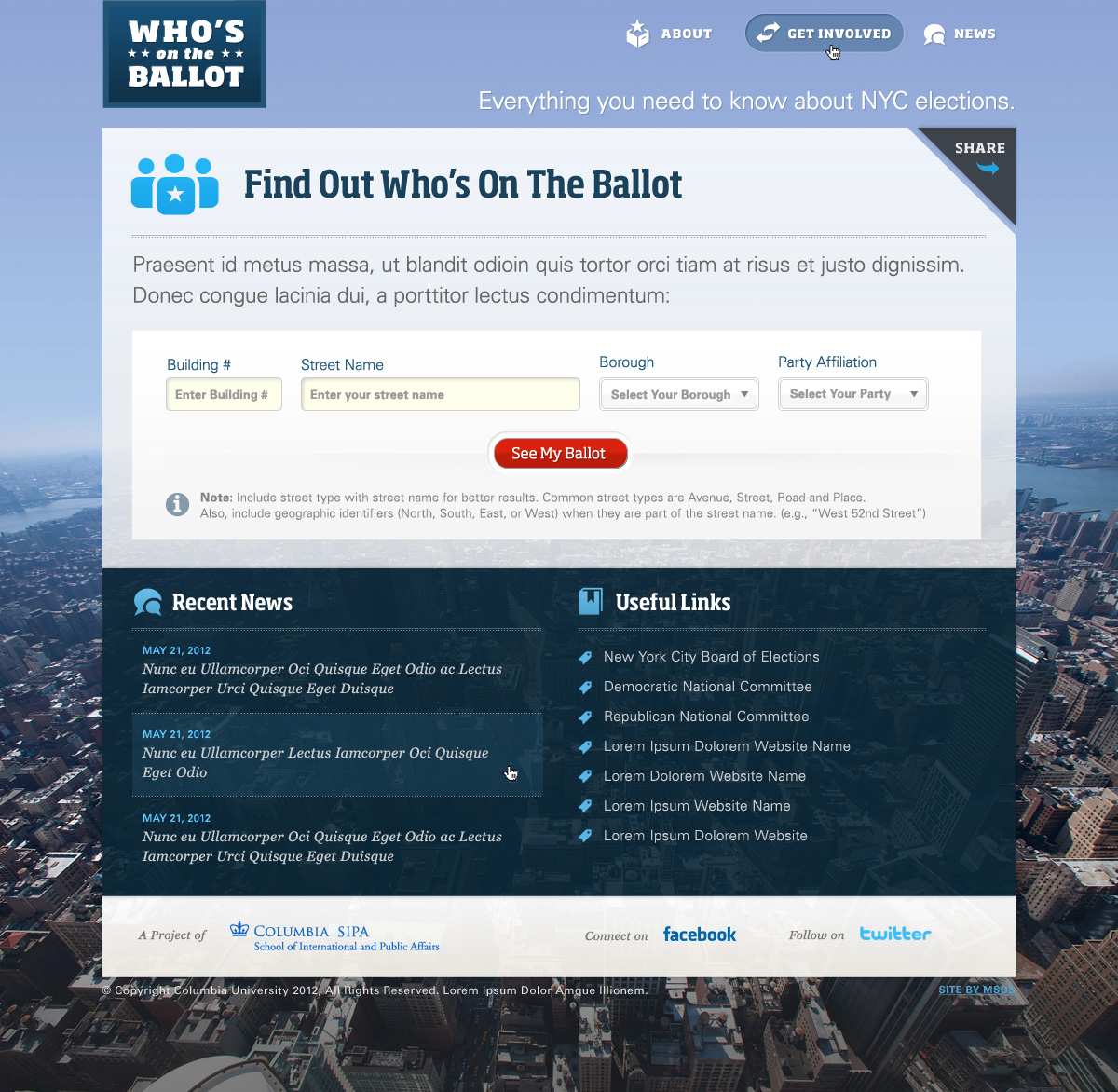 Columbia University: Whos On the Ballot Website Design