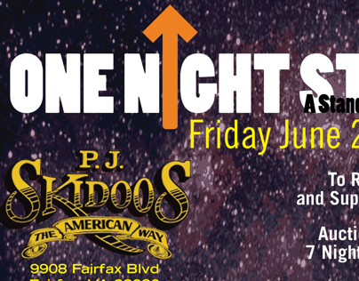 Flyer for One Night Stand Event at PJ Skidoos