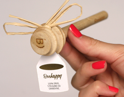 BeeHappy // wooden honey dipper