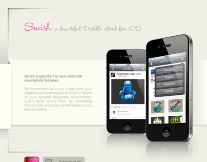 SWISH Iphoneapp Webdesign exercise / Dribbble client