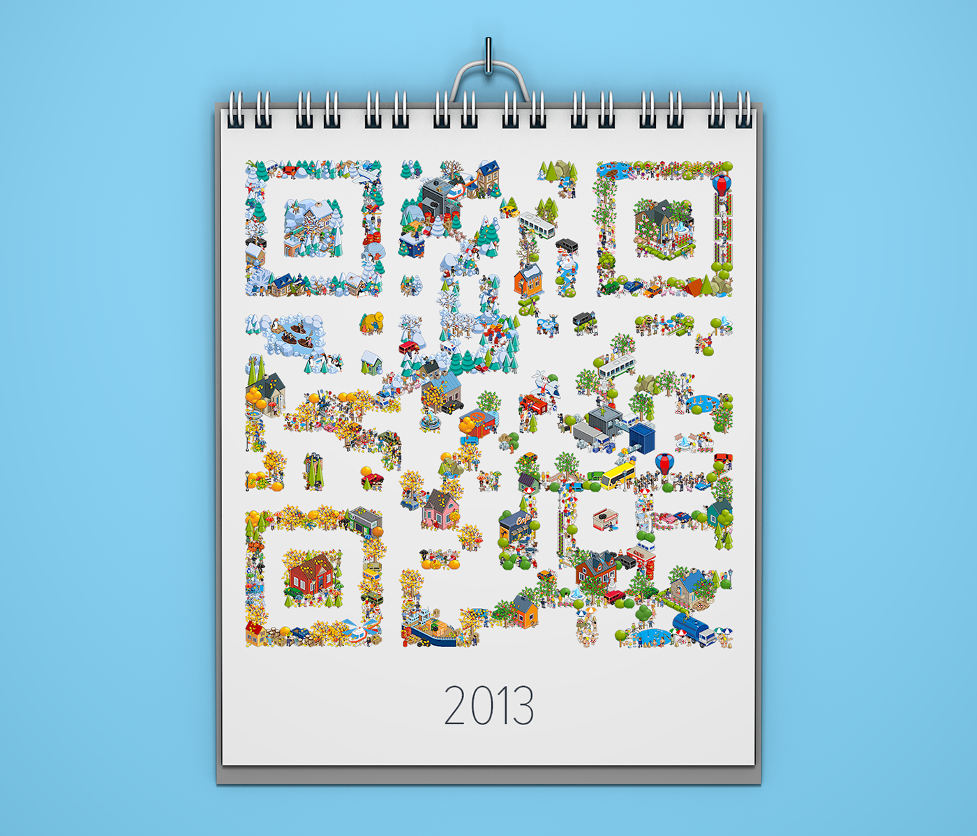 QR-code from pixel-art elements