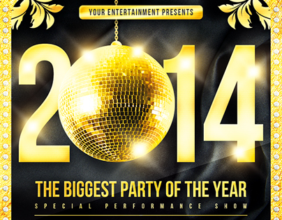 New Year Disco Flyer, PSD Template