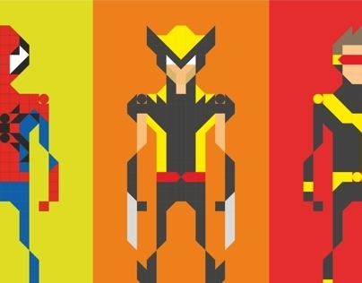 Pixel Game Superheroes and Villains