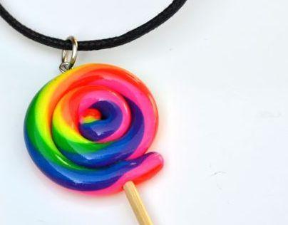 Candy & Mushroom Polymer Clay Pendants