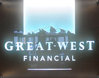 Signage for Great-West Financial lobbies