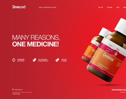 Website Concept for Novartis Sinecod Cough Syrup