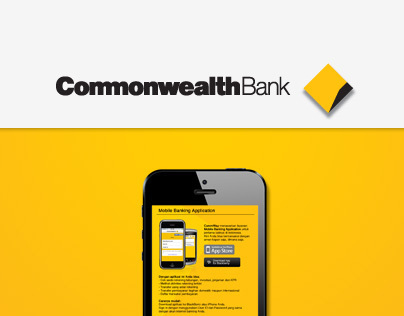 Commonwealth Bank Mobile Banking App Landing Page