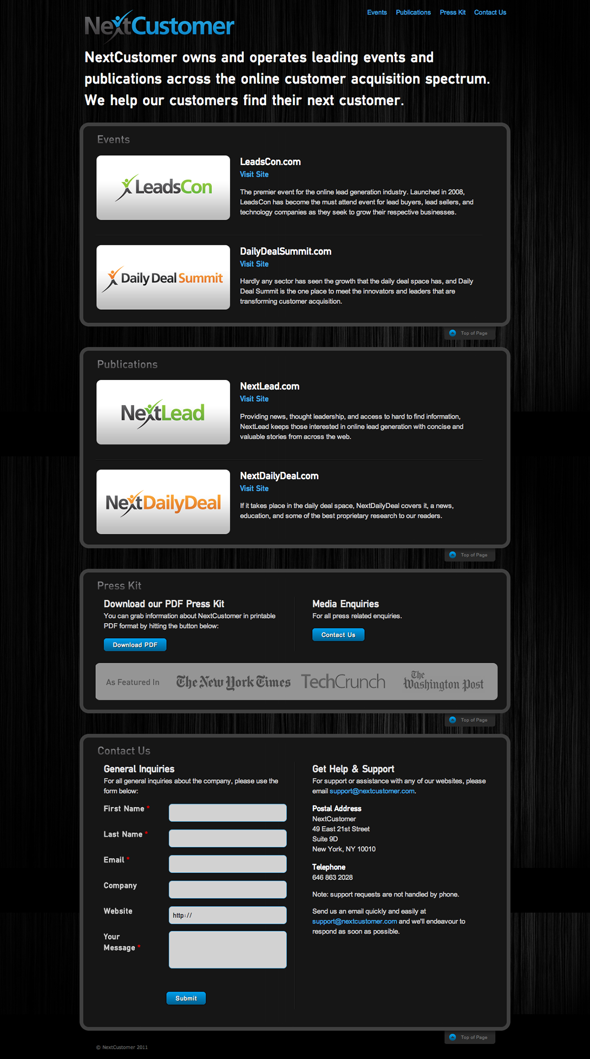NextCustomer.com Single Page Website Design
