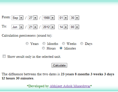 Date difference and Age calculator