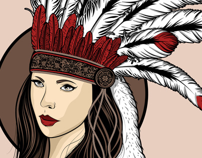 The girl with a feather hat