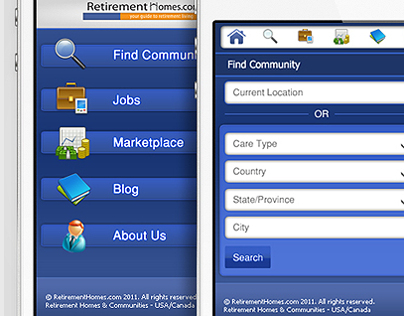 RetirementHomes.com iPhone App UI