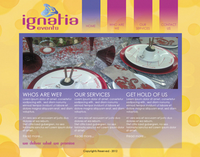 IGNATIA EVENTS website design