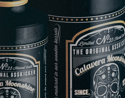 **Calavera Moonshine**   Label and bottle design