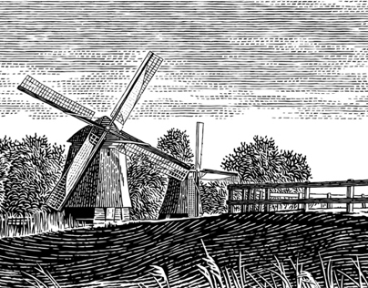 Landscape with windmills
