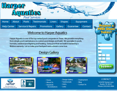 Web Site for a Pool Company