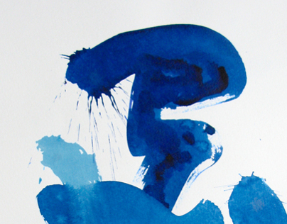 "A series of ""Handwriting""(blue) Paper, ink, size 420h60"