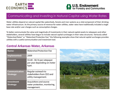 Earth Economics Internship: Watershed Rate Factsheet