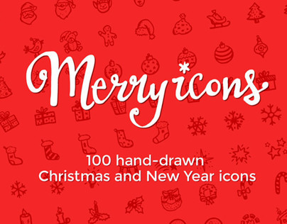 Merry Icons: 100 hand-drawn Christmas vector icons