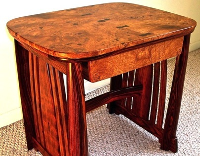 Afzelia Burl & Cocobolo Side Table